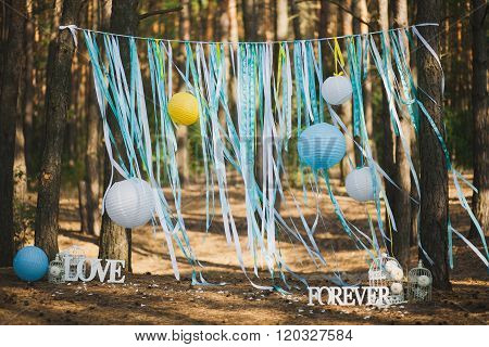 Beautiful Place For Outside Wedding Ceremony In Wood