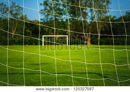 Goal Soccer Netting With Green Grass Ground