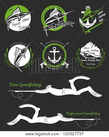 Big set of logos badges stickers and prints spearfishing isolated on black background. Premium vector label for spearfishing and underwater swimming - Stock Vector