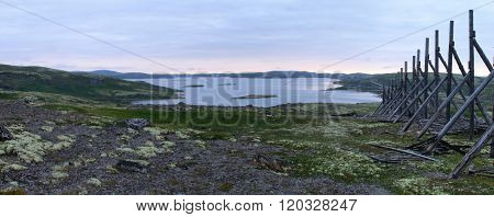 Old wooden fence on the Kola Peninsula
