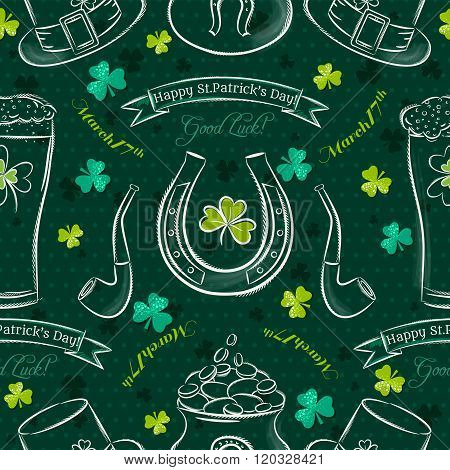 Green  Seamless Background For Patricks Day With Simbol And Shamrocks, Vector