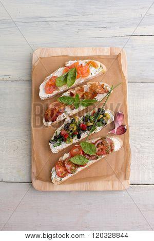 Bruschetta Platter: Salmon, Olives, Bacon