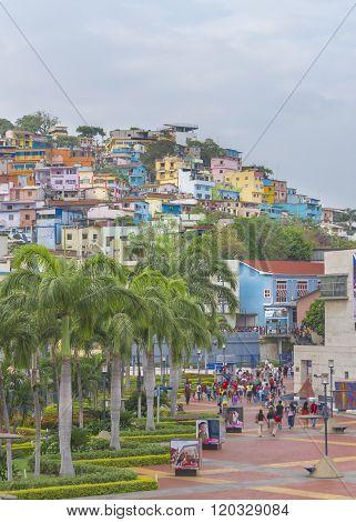 Malecon And Cerro Santa Ana In Guayaquil Ecuador