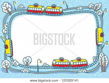 Frame design template with funny trams and rails