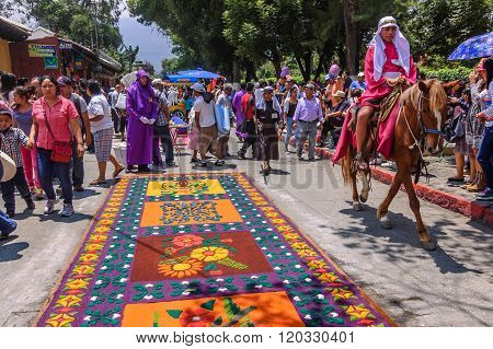 Holy Week Carpets & Horseback Rider, Antigua, Guatemala