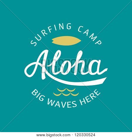 Aloha Hand Lettering. Vector Calligraphy Typography Illustration. Hawaiian Handmade Tropical T-shirt