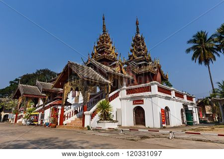 Wide Angle View Of Traditional Burmese Style Chapel Of Wat Sri Chum In Lampang Thailand