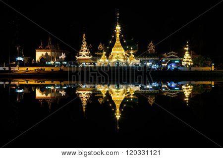 Wat Jong Klang And Wat Jong Kham At Night In Mae Hong Son Province, Thailand.