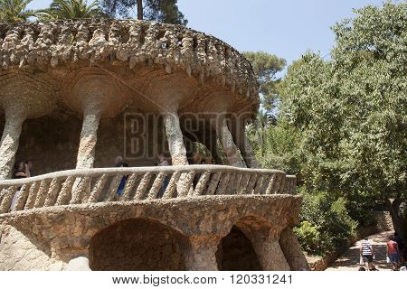 Architectural Masterpieces Of Antoni Gaudi In Guell Park Attract Many Tourists