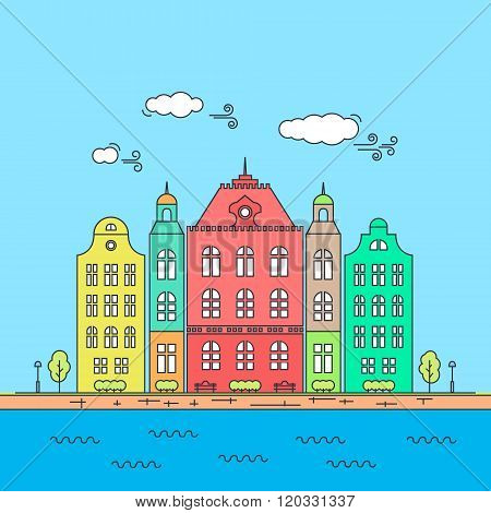 Line little town. Linear cityscape with old townhouses, small town street with building facades line