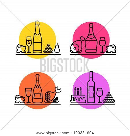 Wine icons set. Festive dinner line icons: champagne, cheese, meat, fish, fruit, cake, red wine, ita
