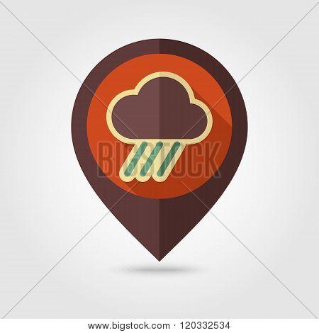 Rain Cloud Flat Pin Map Icon. Downpour, Rainfall