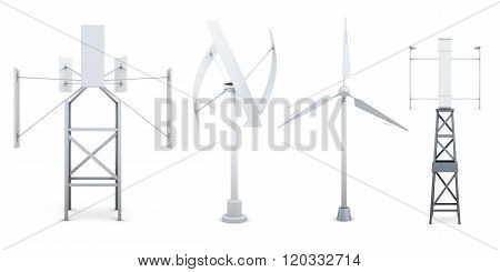 Set of wind electricity generators. Alternative sources of energ