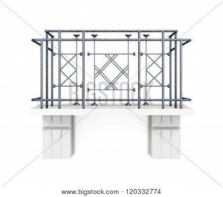 Balcony with a metal fence on a white background. 3d rendering