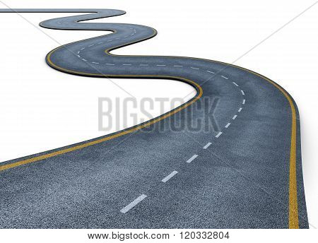 Road isolated on white background. 3d render image