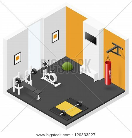 Home Fitness Room Isometric Icon Set