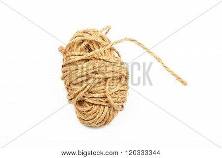 Coil Bobbin Of Burlap Jute Rope Over White