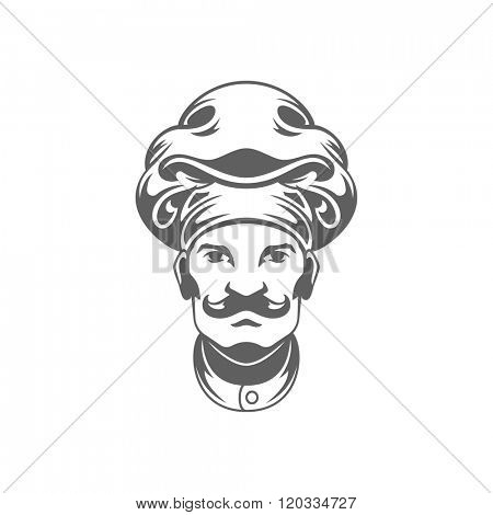 Chef Man Face Logo Vector Illustration. Chef Silhouette Isolated On White Background. Vector object for Labels, Badges, Logos Design. Restaurant Logo, Chef Logo, Hat Symbol, Vintage Logo, Cook logo.