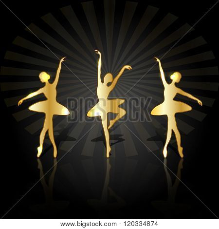 Gold ballerinas with reflection dancing on the stage.