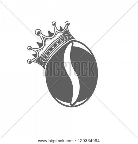 Coffee or Tea Cup Vector Illustration. Bean Silhouette Isolated On White Background. Vector object for Labels, Badges, Logos Design. Coffee Logo, Bean Logo, Coffee Bean Symbol, Retro Logo, Bean Icon