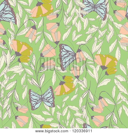 Vector traditional seamless pattern with Monarch butterflies, floral elements and spring flowers, ve