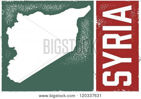 Syria Country Map Vintage Sign