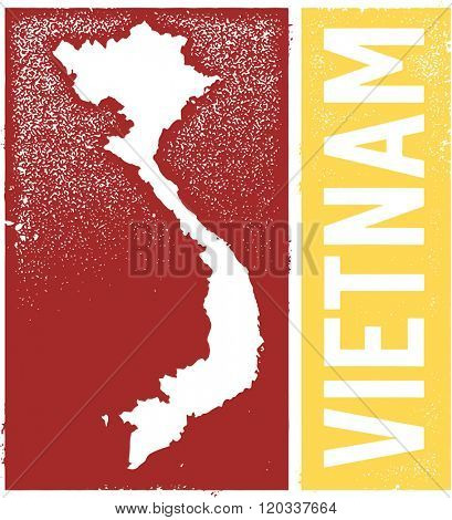 Vintage Vietnam Country Map Sign