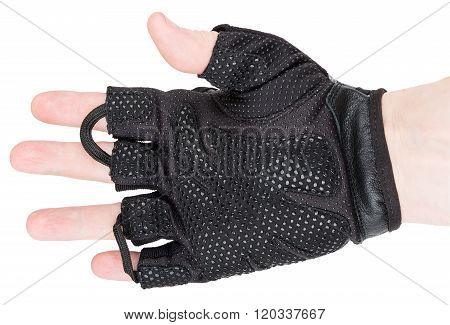 Man's Arm In Training Glove Isolated On White