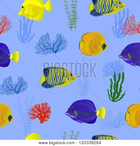 seamless pattern fish red sea on blue background