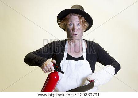 Kitchen Disaster, Pilgrim Hat And Fire Extinguisher