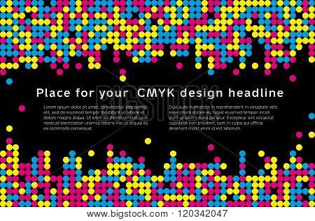 Mosaic Background From Cmyk Colors - Place For Text