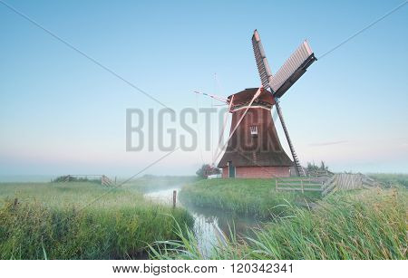 Dutch Windmill In Morning Light