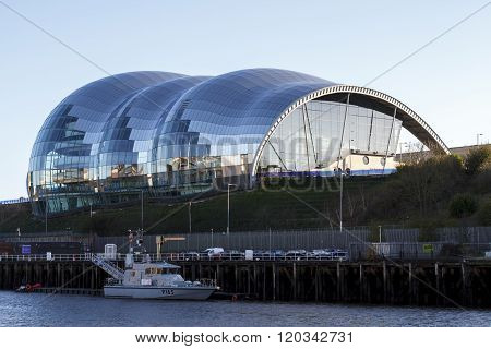 GATESHEAD ENGLAND - DECEMBER 7 2014: The Sage in Gateshead riverside centre for musical education and performance in the North East of England.