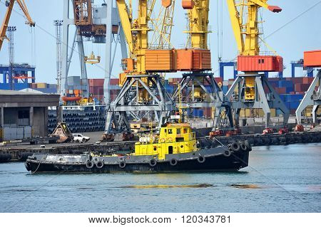Tugboat And Port Cargo Crane