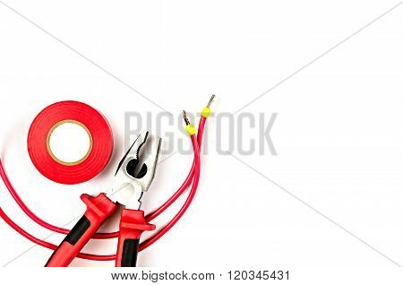 Red Tools Collection - Electrical Cable, Pliers, Insulating Tape