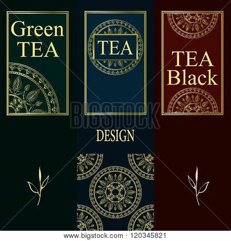 Vector set of design elements and icons in trendy linear style for tea package - green and black tea