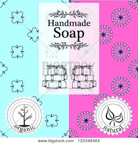 Vector set of seamless patterns, labels and logo design templates for hand made soap packaging and w
