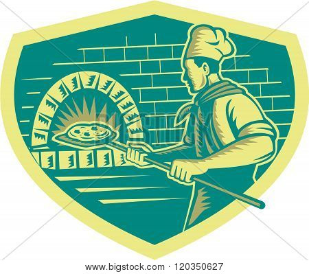 Pizza Maker Holding Peel Crest Woodcut