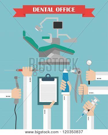Modern Dental office  flat set design concept with hands