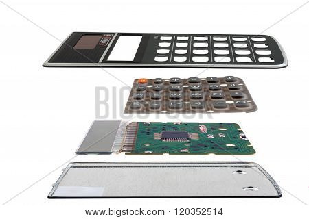 Calculator Chip Installed On Integrated Circuit, Isolated On White Background