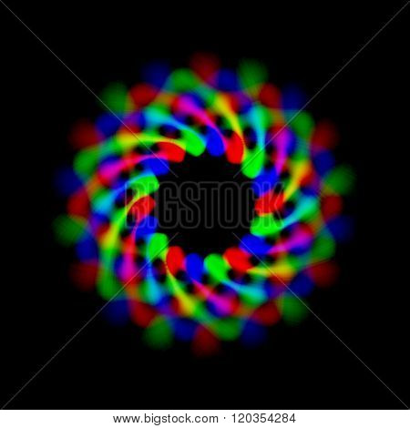 Abstract Rgb Regular Circular Pattern With Blurry And Fabric Like Matted Lines For Logo On Black Bac