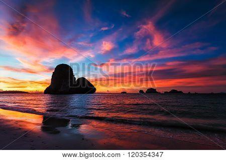 Tropical holidays sunset beach. Pranang beach. Railay , Krabi Province Thailand