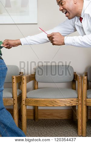 Dentist trying to grab boy