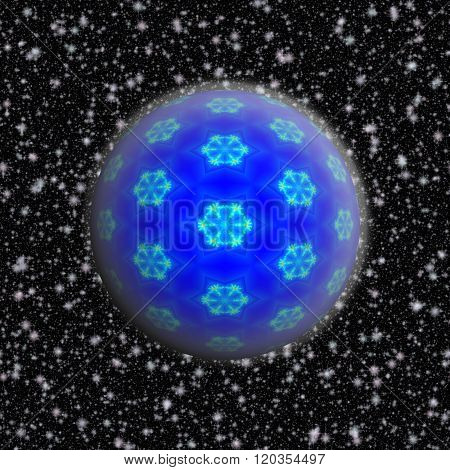 Blue Christmas Ball Decorated With Fractal Snowflakes, Rimed On The Snowy Black Background