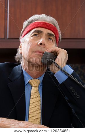 Businessman wearing a sweatband