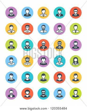 Men Avatars Icons - Dot Version