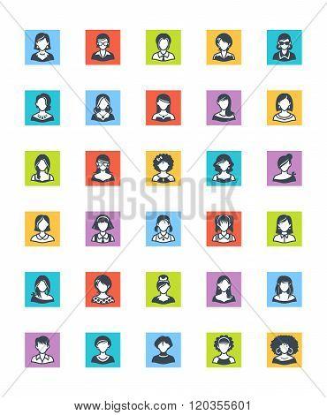 Women Avatars Icons - Square Version