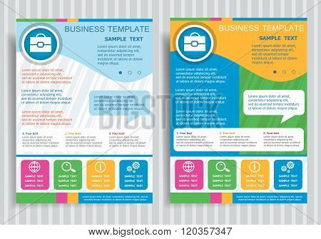 Briefcase Symbol On Vector Brochure Flyer Design Layout Template.