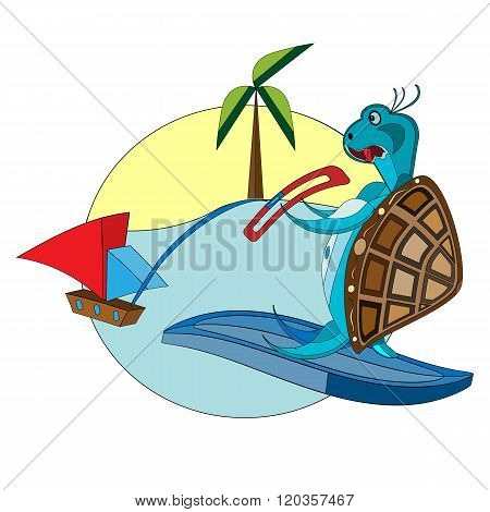 vector illustration of a funny surfing turtle on the tropical background