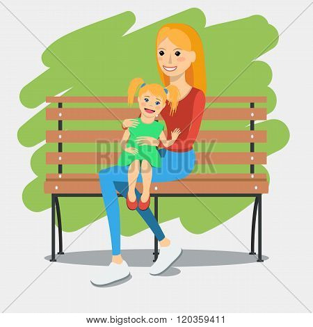 Illustration Of Young Mother With Daughter